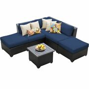 Tk Classicss Barbados 6-piece Patio Wicker Sectional Set 06f In Navy
