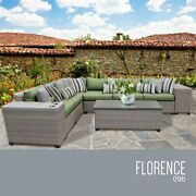 Tk Classics Florence 9-piece Patio Wicker Sectional Set 09b In Green