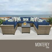Tk Classics Monterey 9 Piece Patio Wicker Sectional Set 09a In Navy