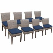 Tkc Oasis Patio Dining Side Chair In Navy Set Of 8