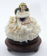 Antique Aelteste Volkstedter / Volkstedt Lace Lady Figurine On Stand 3