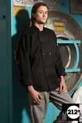 Uncommon Threads 0402p Workhorse Classic Chef Coat 10 Button Black And White Xs-2x