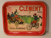 Old Advertising Metal Serving Tray Clement Auto's And Bicycles Paris, Wall Hanger