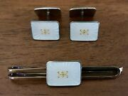 Elvik Andco Norway Sterling Silver Guilloche Enamel Double Cufflinks And Tie Bar Set
