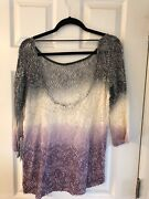 Gimmicks By Bke Sheer Purple Shirt With Floral Lace Detail Size M From Buckle
