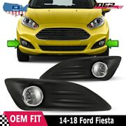 For 2014-2018 Ford Fiesta Pair Oe Factory Fit Fog Light Bumper Kit Clear Lens