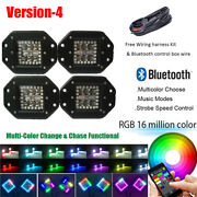 4x 5 24w Led Work Light Flush Mount Pods Rgb Halo Ring Change And Chase Bluetooth