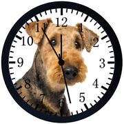 Airedale Terrier Black Frame Wall Clock Nice For Decor Or Gifts E289