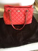 Kate Spade Gold Coast Maryanne Gorgeous Bright Coral Quilted Leather Bag Large