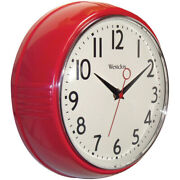 Westclox Round Retro Wall Clock, Red, 9.5 Inches