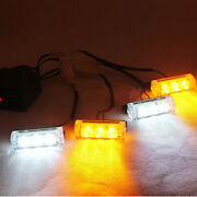 12 Led White And Amber Emergency Vehicle Strobe Lights For Front Grille/ Deck