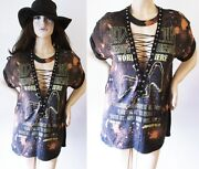 Led Zeppelin Lace Up Shirts Bleached S-xl Vintage Look
