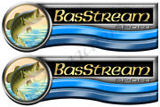 Two Bas Stream Designer Stickers. Remastered 10x3.5 Long Each
