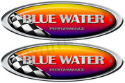Two Blue Water Boat Racing Oval Stickers
