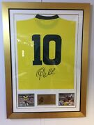 Pele Signed And Framed No.10 Brazilian Shirt With Photo Display