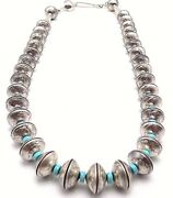 James Mccabe Handmade Sterling Silver Navajo Coin Necklace 22and039and039