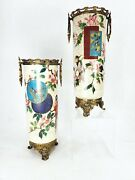Pair Of Aesthetic Antique Signed Creil-montereau Faience Bronze Mounted Vases