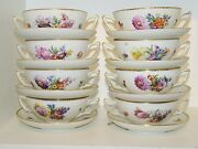 Royal Copenhagen Full Sachian Flower 12 Sets Of Soup Cup With Matching Saucer