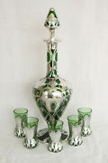 Stunning Antique Green Decanter And 5 Shots Art Glass Sterling Silver Overlay Set