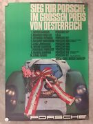 1969 Porsche 917 Coupe Gp Of Austria Victory Showroom Advertising Poster Rare