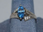 14k White Gold Ring With A Blue Topazdecember Birthstone And Cz Diamonds
