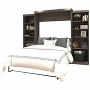 Atlin Designs 115 Queen Wall Bed With Storage In Bark Gray