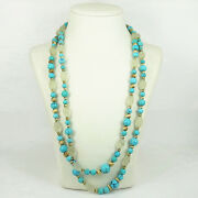 Vintage Natural Turquoise And Rock Crystal Quartz 14k Gold Double Strand Necklace