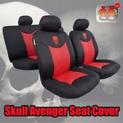 9pcs Elite Airflow Mesh Skull Embroidery Red Black Car Seat Cover For Tacoma Trd