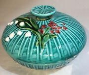 Vintage Schramberg German Majolica Round Bowl And Lid Lilly Of The Valley