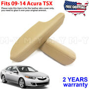 Fits 2009-2014 Acura Tsx Leather Front Door Panels Armrest Cover 2pcs Beige Tan