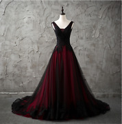 New Red/black Gothic Wedding Dress A Line Pageant Dresses Prom Evening Ball Gown