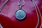 Irish🍀 Harp Coin Pendant Necklace | 1994 22 925 Sterling Silver Snake Chain