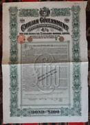 Chile 100andpound Uncancelled Government Bond 1900 Coquimbo Railway +coupons Plan 1948