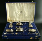 Sterling Salt Sellers, Pepper Shakers And Mustard Pot By Garrard And Co Hm The Queen