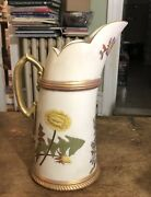 """Royal Worcester 1886 Water Pitcher Ewer Curves Forward 10"""" Flowers Gold"""