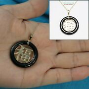 14k Solid Y/g Good Fortune Black Onyx Ring Shaped Oriental Pendant Necklace