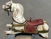 Antique 1880 Carved Wood Carousel Horse Charles Dare Ny Original Paint Glass Eye