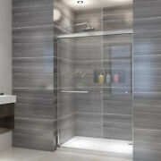 Elegant 48x72and039and039 Bypass Sliding Shower Door With 1/4 Glass Door Brushed Nickel
