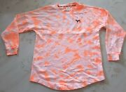 Victoria Secret Pink Orange Tie Dye Oversized Varsity Crew Pullover Sweatshirt