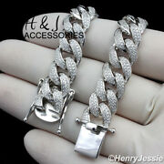 Men 925 Sterling Silver 18-24x12mm Bling Miami Cuban Chain Necklacesn12