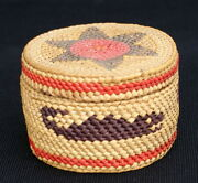 Makah Or Nootka Antique Lidded Basket With Polychrome Whales And Star