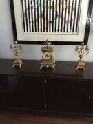 Antique French Guild Bronze Clock And Garniture By S. Marti And Company