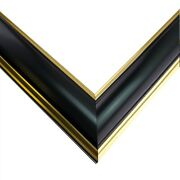 Us Art Frames 1 Thin Shiny Black Gold Lip Wood Wall Décor Picture Poster Frame