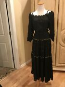 New Free People By Lily And Lionel Esmerelda Maxi Dress, Black And Gold Size Xs