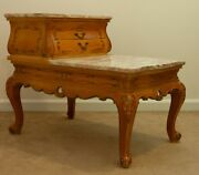 Gorgeous Vintage Rococo Louis Xv- Style Provincial Pink Marble Top End Table