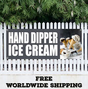 Banner Vinyl Hand Dipper Ice Cream Advertising Sign Flag Gift Many Size Candy