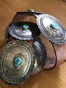 Vintage Handmade Navajo Sterling Silver Turquoise Concho Belt Unsigned