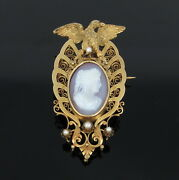 Antique 1800andrsquos Shell Cameo And Natural Pearl 14k Yellow Gold Carved Eagle Brooch