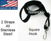 Bimini Boat Top 2 Straps Loops And Single Snap Hook All Stainless Steel 28 To 60