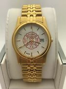 Bulova Hillcrest Fire Department Menand039s White Dial Yellow Gold Tone Watch 97b31